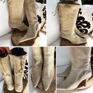 NINE WEST Soft Suede Camel Color Heeled Boots 10M